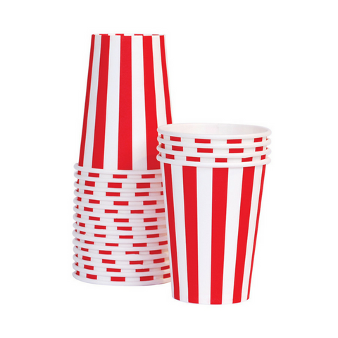 Red and White Striped Cups