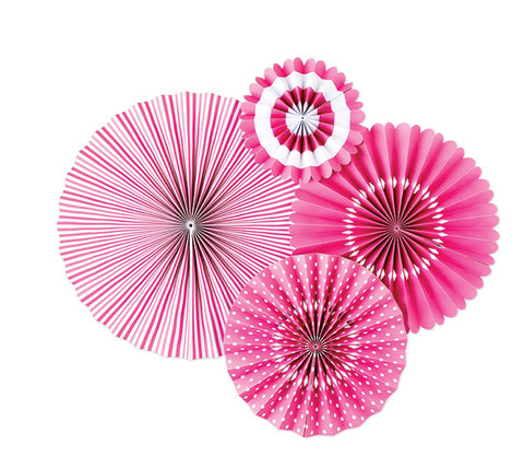 Hot Pink and White Bubble Gum Party Fans