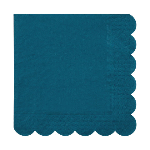 Teal Scalloped Small Napkins