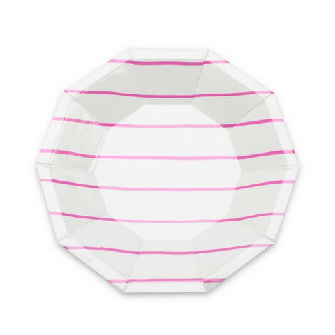Hot Pink Frenchie Striped Small Plate