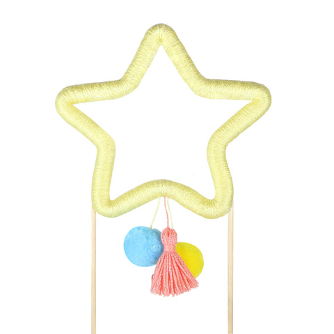 Yellow  Cotton Star Cake Topper