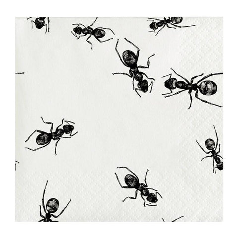 Black and White Ants Small Napkins