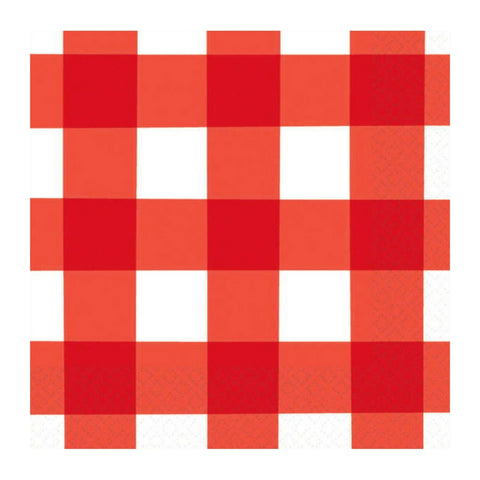 Red and White Summer Check Small Napkins