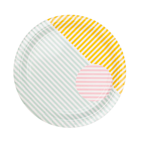 Pastels Stripes Large Plate