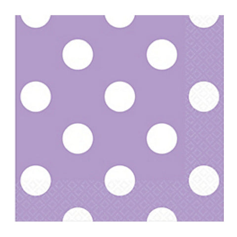 Lavender and White Dots Small Napkins