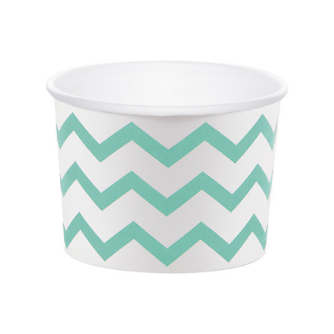 Mint and White Chevron Treat Cups