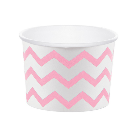 Marshmallow Pink and White Chevron Treat Cups