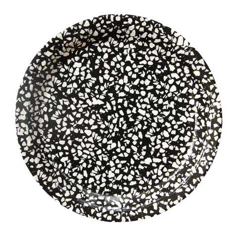 Black and White Art School Speckle Large Plate