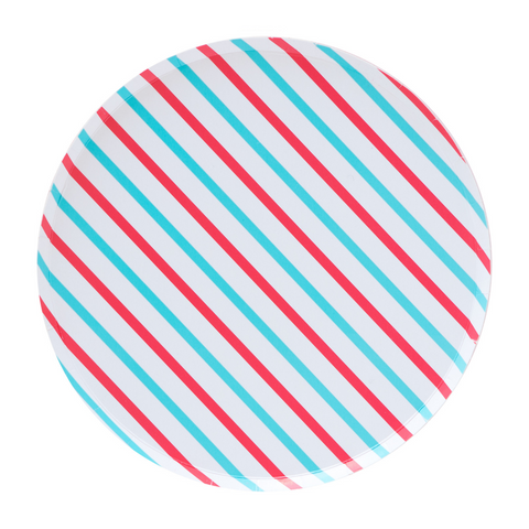 Cherry and Sky Striped Oh Happy Day Large Plate