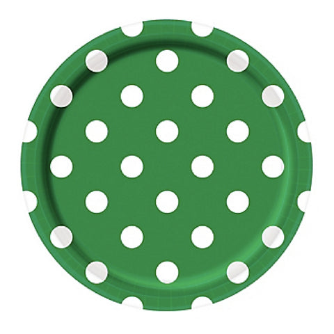 Green and White Dots Large Plate