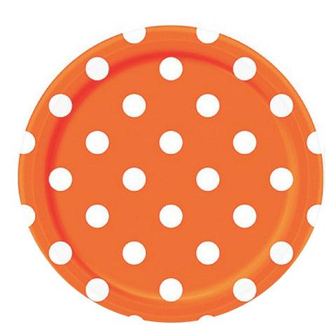 Orange and White Dots Large Plate