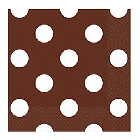 Brown and White Dots Small Napkins