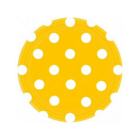 Yellow and White Dots Small Plate
