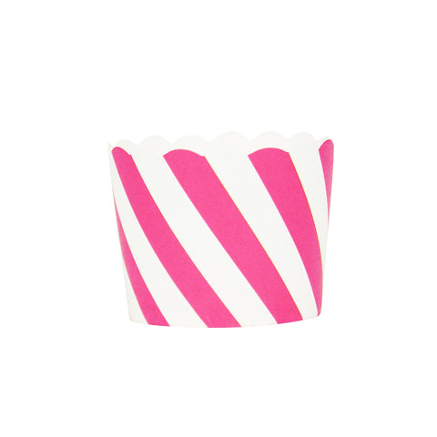 Hot Pink and White Striped Small Baking Cups