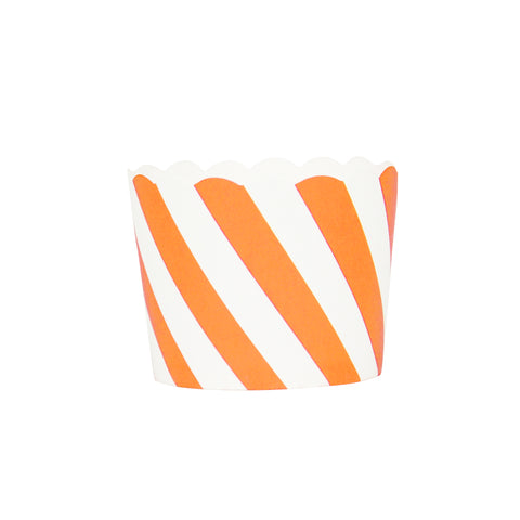 Orange and White Striped Small Baking Cups
