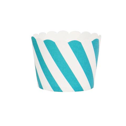 Turquoise and White Striped Baking Cups