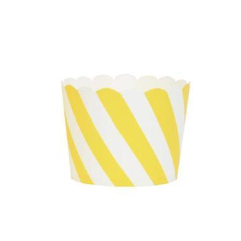 Yellow and White Striped Baking Cups