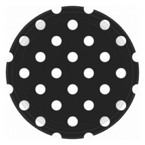 Black and White Dots Large Plate