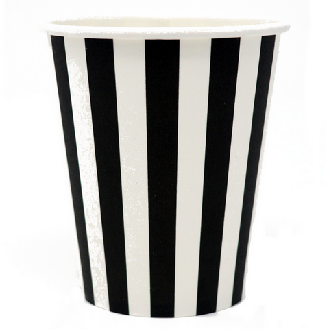 Black and White Black Tie Striped Cups