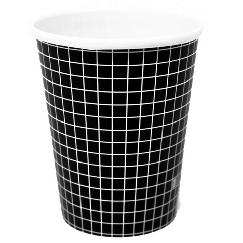 Black and White Grid Cups