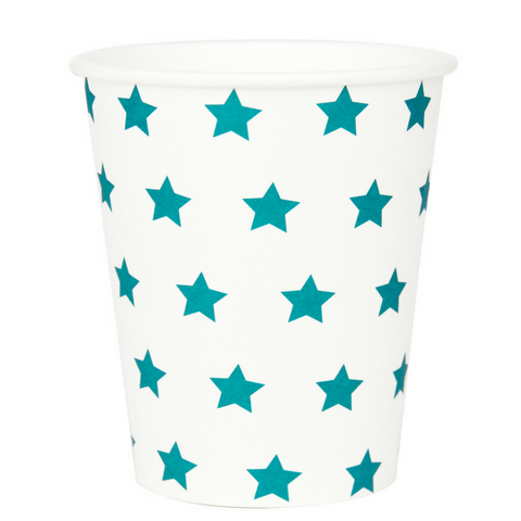 Turquoise and White Star Cups