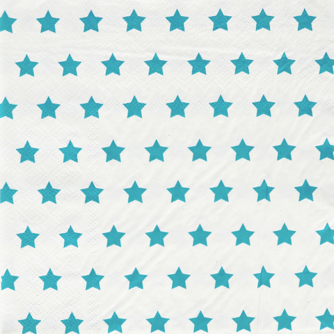 Turquoise and White Stars Large Napkins