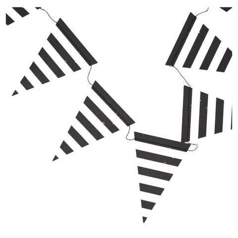 Black and White Striped Pennant Banner