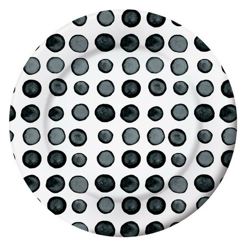 Black and White Watercolor Dots Large Plate