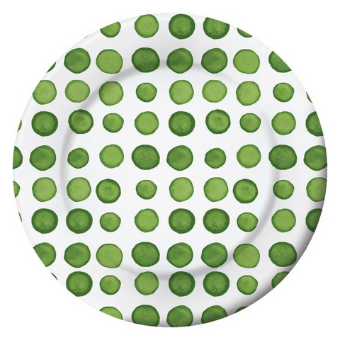 Green and White Watercolor Dots Large Plate