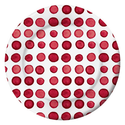 Red and White Dots Watercolor Large Plate