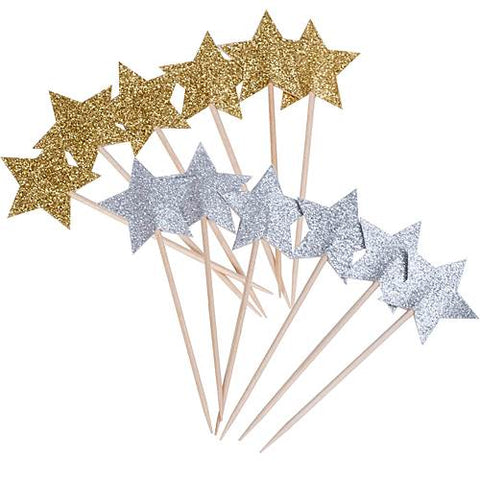 Silver and Gold Glitter Star Party Picks