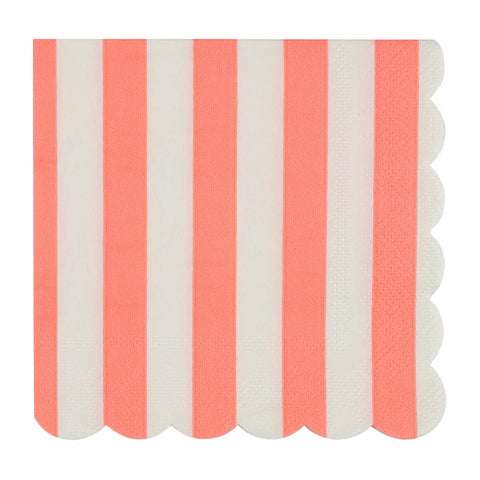 Coral and White Striped Small Napkins
