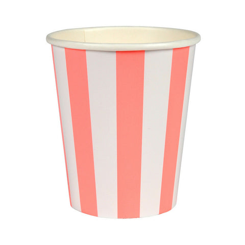 Coral and White Striped Party Cups
