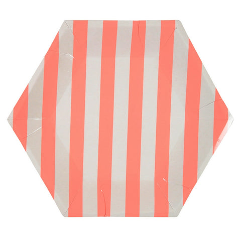 Coral and White Striped Hexagon Large Plate