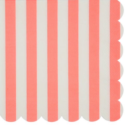 Coral and White Striped Large Napkins