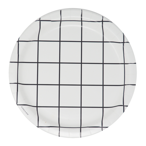 Black and White Grid Large Plate