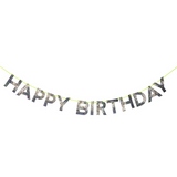 Silver Glitter Happy Birthday Garland
