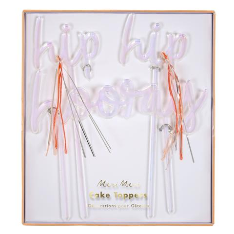 Iridescent Acrylic Hip Hip Hooray Cake Toppers