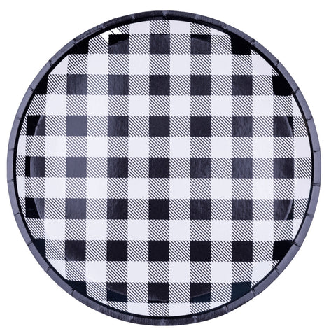 Black and White Gingham Check Plates
