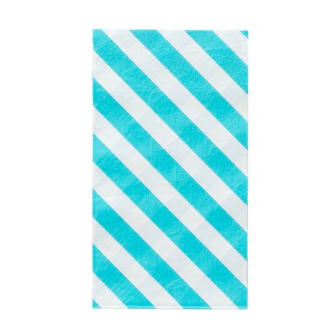 Sky and White Stripe Oh Happy Day Guest Towels