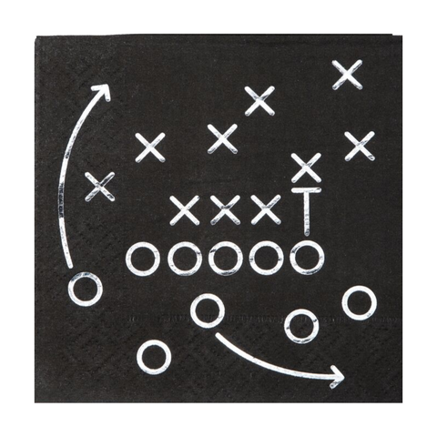 Black & Foil Football Napkins