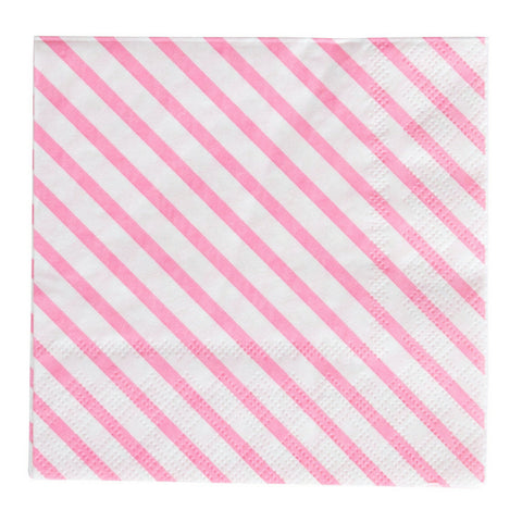 Neon Rose Striped Oh Happy Day Beverage Napkins