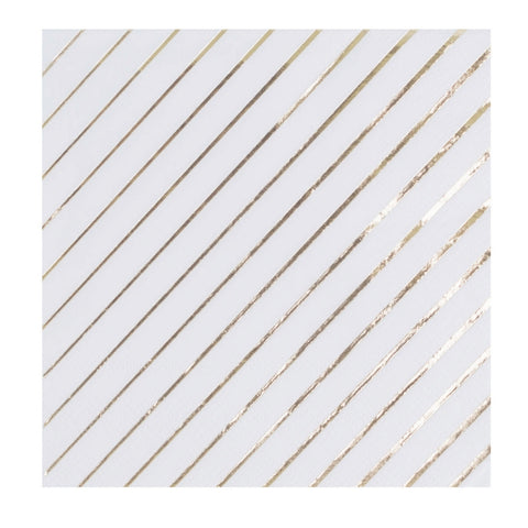White and Gold Beverage Napkin
