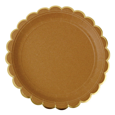 Kraft with Gold Trim Scalloped Large Plate