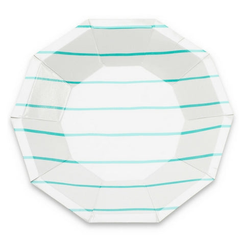Aqua Frenchie Striped Large Plate