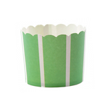 Green and White Striped Large Baking Cups