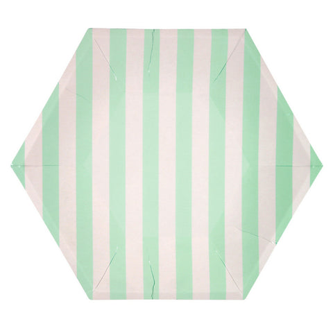 Mint and White Striped Hexagon Large Plate