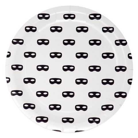 Black and White Mask Large Plate