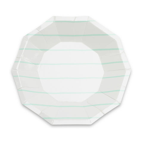 Mint Frenchie Striped Small Plate