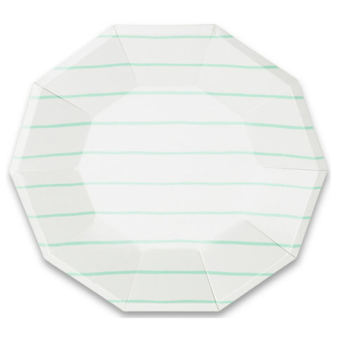 Mint Frenchie Striped Large Plate